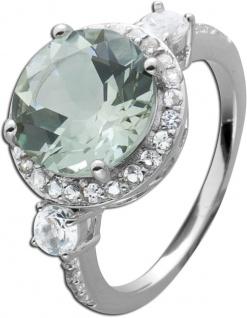 Grüner Amethyst Ring Edelstein Silber runder grüner Edelstein