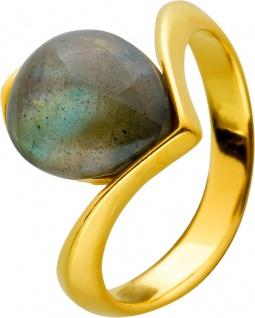 Labradorit Edelstein Ring Silber 925 gelb vergoldet grau grün Tropfen