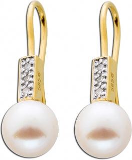 Diamantohrhänger Perlen cremefarben Gelb Gold 585 Diamanten 0, 024ct
