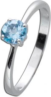 Blautopas Solitärring Sterling Silber 925 Hellblau