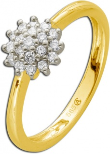 Diamant Blumenring Gelb Gold 585 Brillanten 0, 24ct WSI