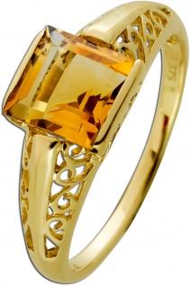 Antiker Citrin Ring Gelbgold 375 Cognacfarbener Edelstein Um 1930 Sehr