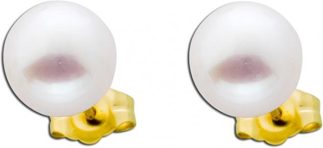 Perenohrstecker weiss Perlenohrringe Gold Gelb 585 Süsswasserperle