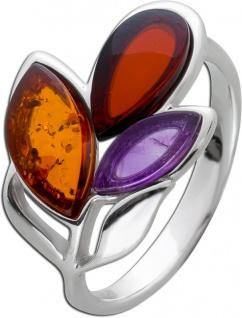 Edelstein Blatt Ring Silber 925 violetter Amethyst Cherry/ braunem