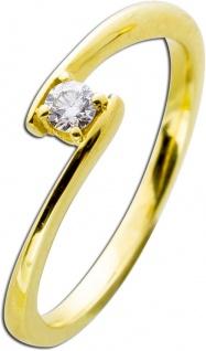 Brillantring 0, 10ct W/SI Gold 585 Diamant Ring Solitär Brillant