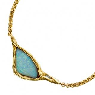 Opal Edelstein Collier Gelb Gold 585 Lapponia Look Rollo-/Erbskette