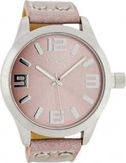 OOZOO Uhren C1058 pinkgraues Nieten Lederarmband Silber Gehäuse