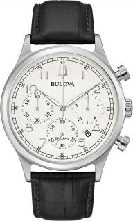 Bulova Classic 96B354 Herrenuhr Chronograph 43mm 3ATM Edelstahl/Leder