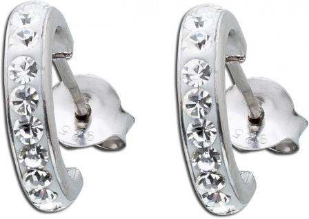 Weisse Kristalle Ohrringe Ohrstecker Halbcreole Silber 925