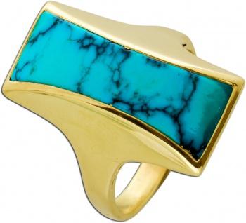 Antiker Türkis Ring Gelbgold 585 Edelstein Natürliche Maserung Um