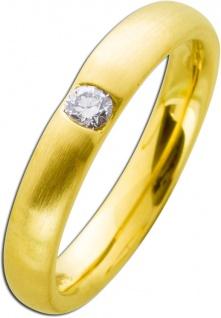 Vorsteckring Gelbgold 585 mattiert Brillant 0, 10ct W/SI Diamantring