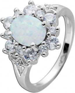 Opal Edelstein Ring Silber 925/- weisse Zirkonia ovaler synth. Opal