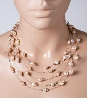 Perlen Collier Halskette 5-reihig Süsswasserperlen