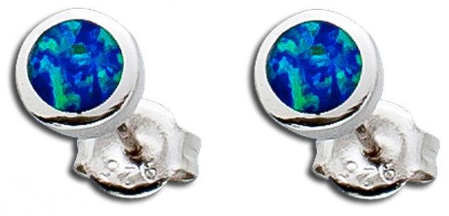 Opal Ohrringe Ohrstecker Silber 925 blau synth