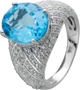 Ring Blautopas Silber 925 Edelstein Ring weißen Zirkonia