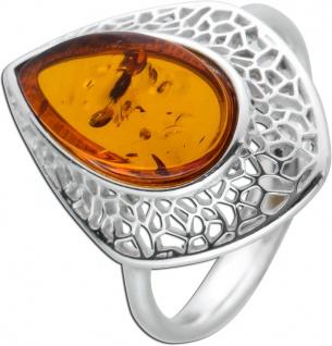 Edelstein Ring Sterling Silber 925 Bernstein Cabochon cognacfarben