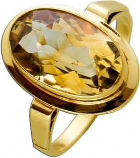 Antiker Citrin Ring Gelbgold 585 Cognacfarbener Edelstein Um 1930 TOP