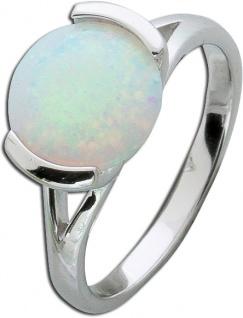 Opalring Silber 925 solitär Opal Schmuckring weiss blau
