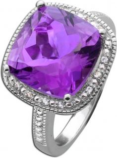 Violetter Amethyst Grosser Edelstein-Ring Sterling Silber 925