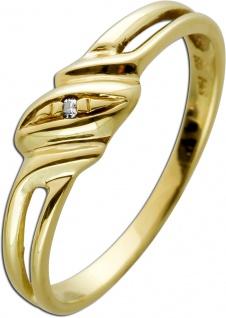 Solitärring Gelbgold 585 Diamant 8/8 0, 01ct W/SI
