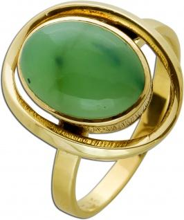 Nephrit Jade Edelstein Ring Antik 1930 Gelbgold 333 Gr. 18mm