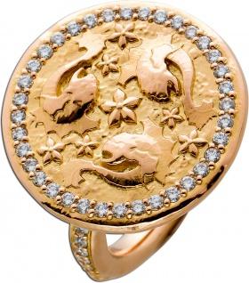 Drachenfisch Coin Ring Rosegold 750 Diamanten Brillanten ca 0, 57ct