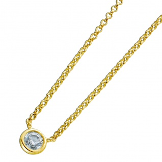 Diamant Halskette Solitär Collier Gelb Gold 750 Brillant 0, 15ct