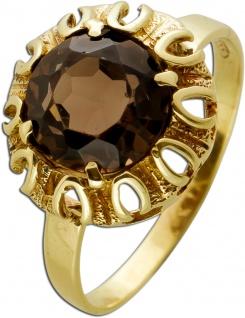 Antiker Rauchquarz Edelstein Ring Gelbgold 333 Rauchquarz cognac in