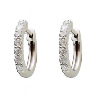 Diamant Creolen Weissgold 585 Brillant 0, 42ct W/SI2