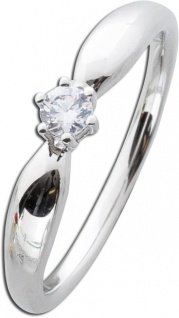 Diamantring Solitärring Weissgold 585 Brillant 0, 15ct WSI