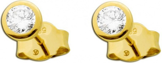 Solitär Ohrstecker Diamant Brillant Ohrringe Gold 585 0, 35 Carat TW /