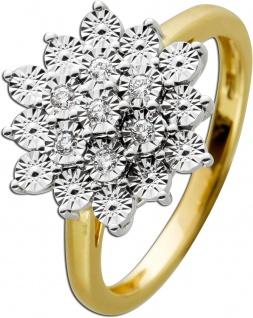 Ring Gelbgold 585 mit 7 Diamanten zus. 0, 08ct 8/8 W/SI, optisch 100
