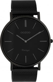 OOZOO Uhren C9932 schwarz Milanaise Edelstahl Vintage Unisex 44mm