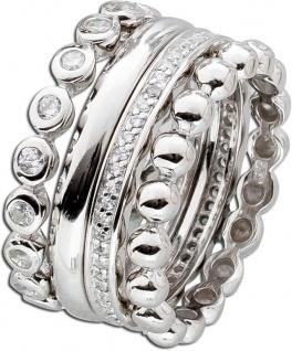 Ring Set 4-teilig Sterling Silber 925 Zirkonia Designer Ring Set