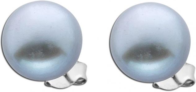 Damen Perlen Silber Ohrringe Ohrstecker Silber 925 runde graue
