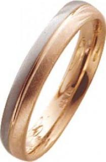 Trauring in Weißgold 750/- / Rotgold 750/-, Breite 4, 0mm, Stärke