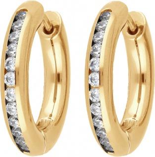 Titania 29109 Klappcreolen Ohrringe Titan IP vergoldet weisse Zirkonia - Vorschau