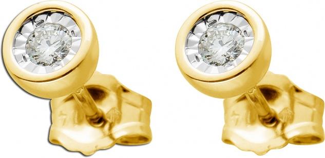 Ohrstecker Gelbgold 585 mit 2 Brillanten zus. 0, 10ct W/SI 5mm