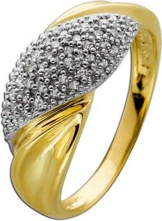 Diamant Ring Gelb Weissgold 585 Brillanten 0, 50ct W/P1 Gr. 18mm
