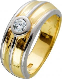 Moderner Brillant Diamant Ring bicolor Gelbgold Weissgold 585 0, 20ct