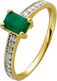 Ring Gelbgold 585 mit einem Smaragd 0, 56ct und 22 Diamanten 0, 20ct
