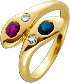 Schlangen Edelstein Ring Gelbgold 585 roter Rubin blauer Saphir weisse