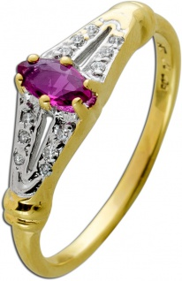 Antiker Rubin Diamant Ring Gelbgold 333 Roter Edelstein W/SI 0, 05