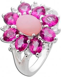 Edelstein Ring Silber 925 pink Opal pinker Topase weisse Topase rosa