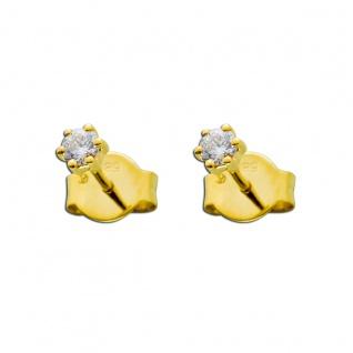 Solitär Ohrstecker 0, 20ct TW/IF Diamant Brillant Goldohrringe Gold