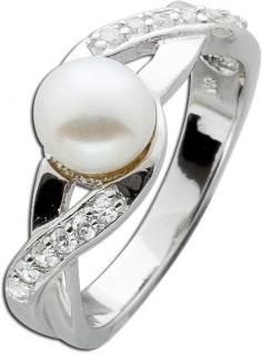 Silberring weißen Süßwasserzuchtperle Silber 925 Zirkonia