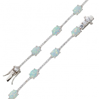 Opalarmband Silber 925 Opal weiss blau