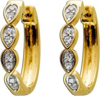 Klappcreolen Gelbgold 585mit 16 Diamanten 0, 10ct W/SI, 15x3mm