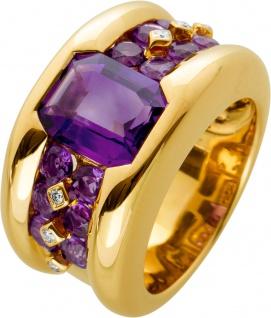 Edelstein Ring Gelbgold 750, 1 Amethyst 3, 00ct., 12 Amethyst Edelsteine