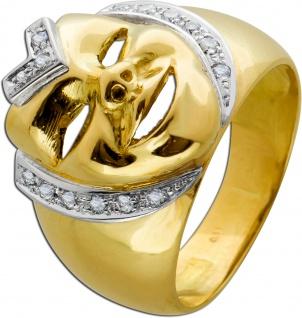 Antiker Ring 70er Jahre Gelbgold 750 Masken Harleyquinn Design